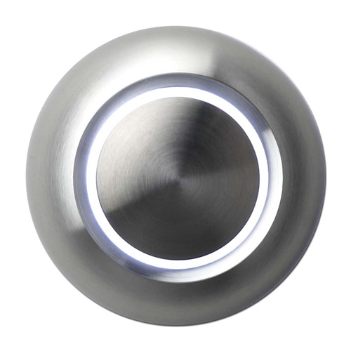 Botón timbre iluminado, aluminio, LED blanco, sobrepuesto